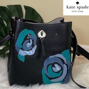 ♠️Kate Spade Marti Small Black/Floral Bucket Bag